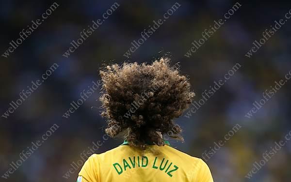 The iconic hair of David Luiz of Brazil