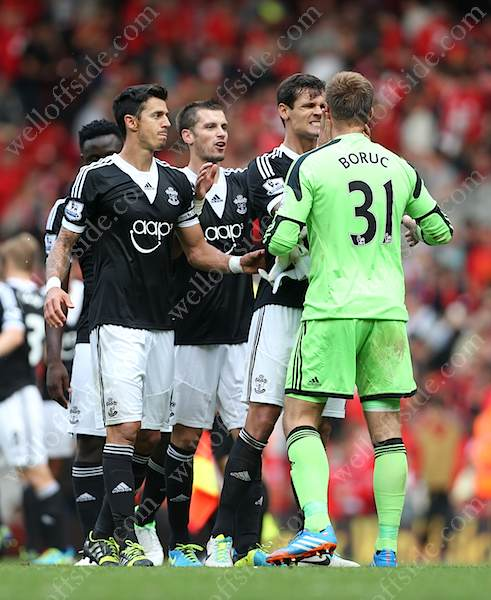 Southampton players celebrate their surprise victory
