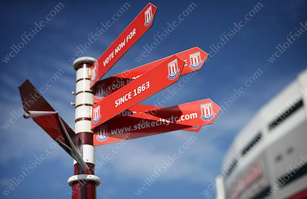 Signs point fans in the right direction outside Stoke City's Britannia Stadium