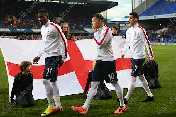 England U21 players Wilfried Zaha, Ravel Morrison and Tom Ince walk out before their Euro Qualifier against Lithuania in Ipswich