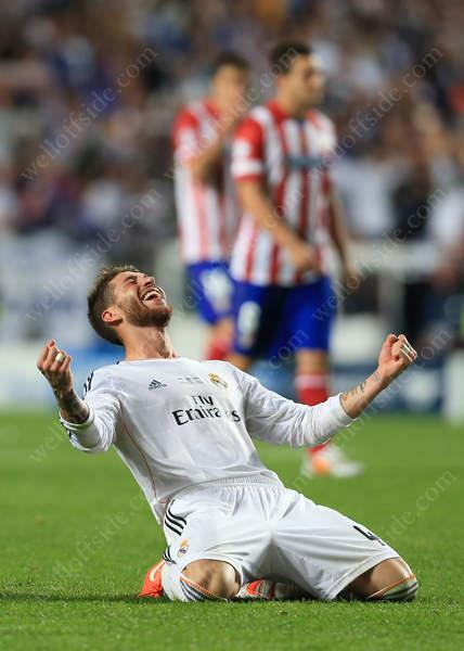 Sergio Ramos of Real celebrates victory