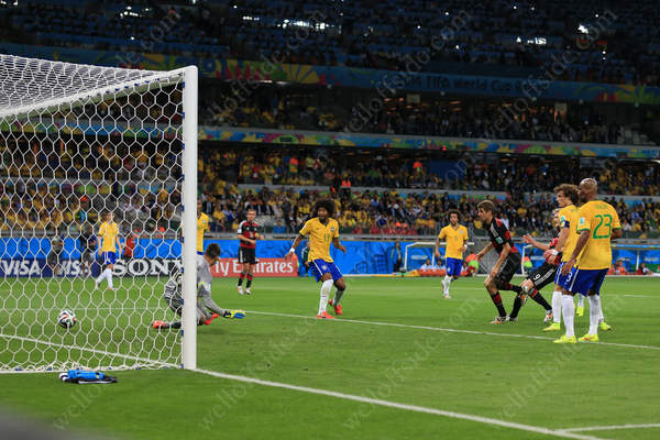 Andre Schurrle of Germany scores their 6th goal