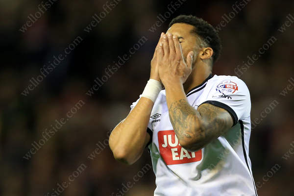 Cyrus Christie of Derby looks dejected