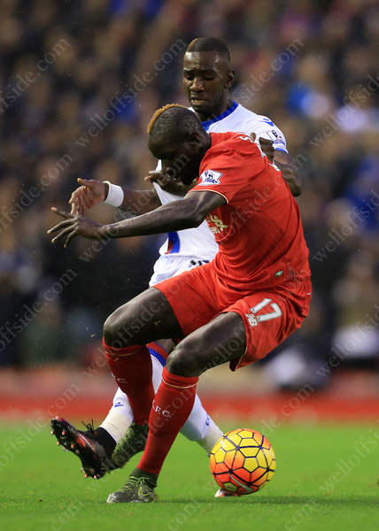 Yannick Bolasie of Palace battles with Mamadou Sakho of Liverpool