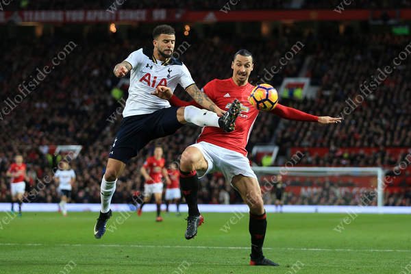 Kyle Walker of Spurs battles with Zlatan Ibrahimovic of Man Utd